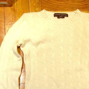 White cashmere Ralph Lauren cableknit sweater